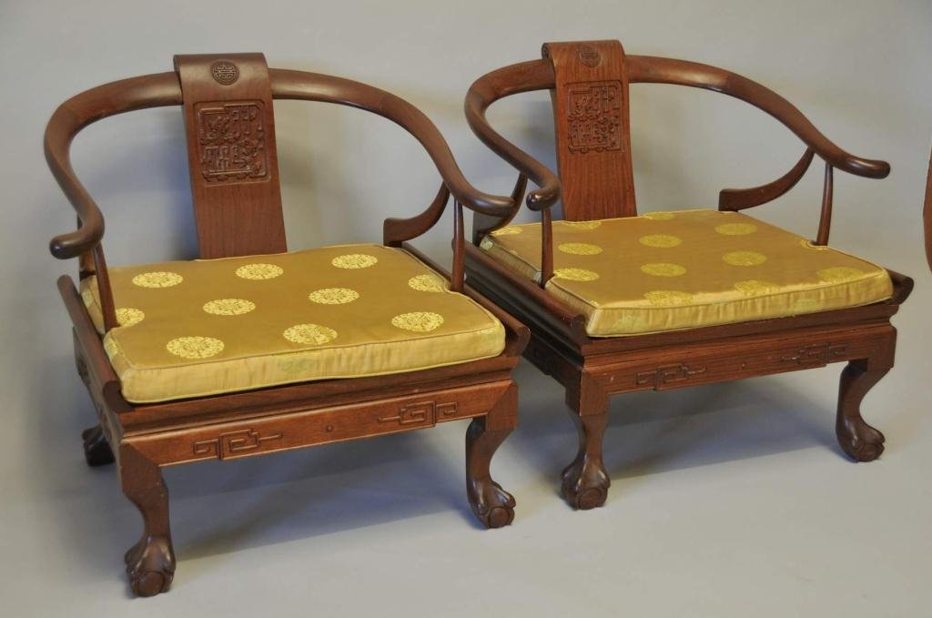 Pair of Horseshoe Back Chinese Chairs