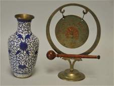 Brass Gong and Cloisonne Vase