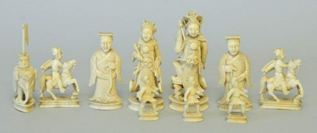 Chinese-Export Ivory Figural Chess Pieces
