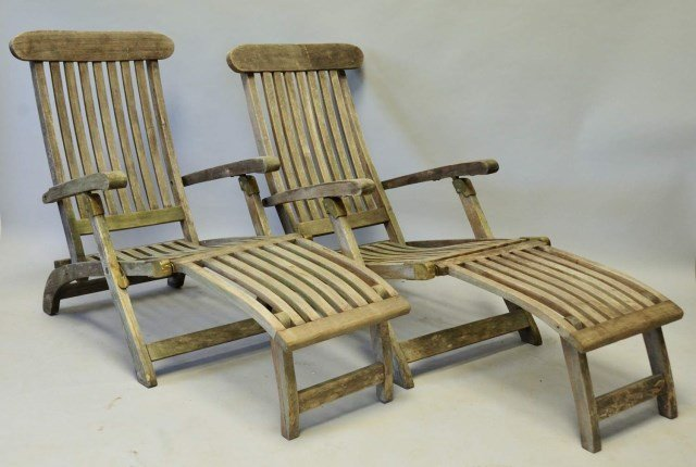 Two Teak Wood Deck Chairs