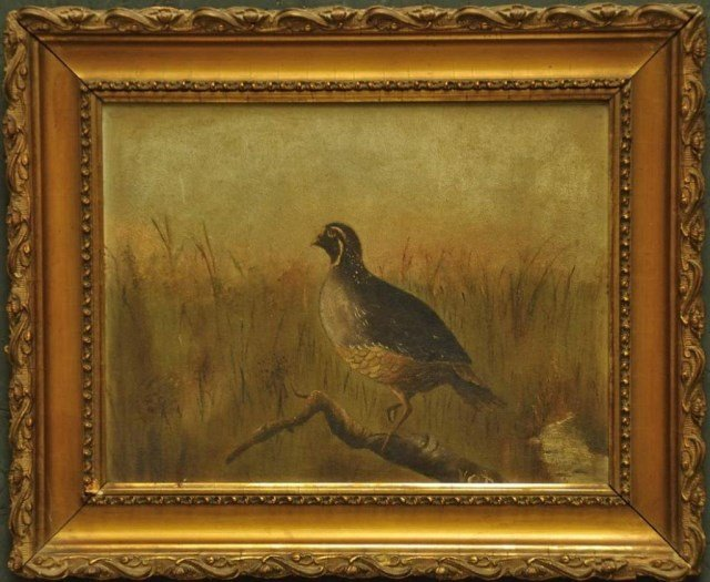 19th Century Signed Painting of Quail
