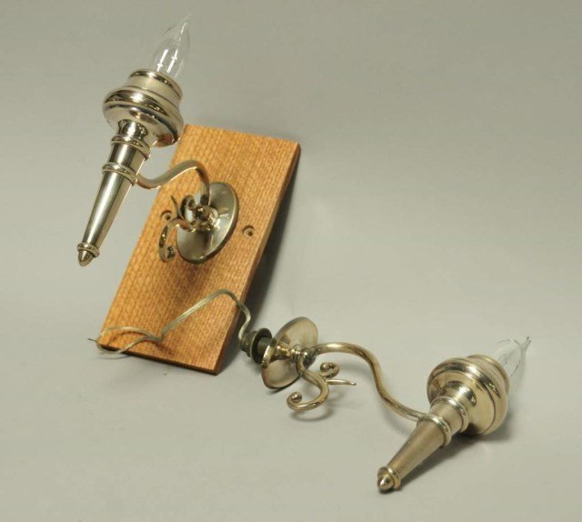 Pr. of Nickel Plated Torch Sconces