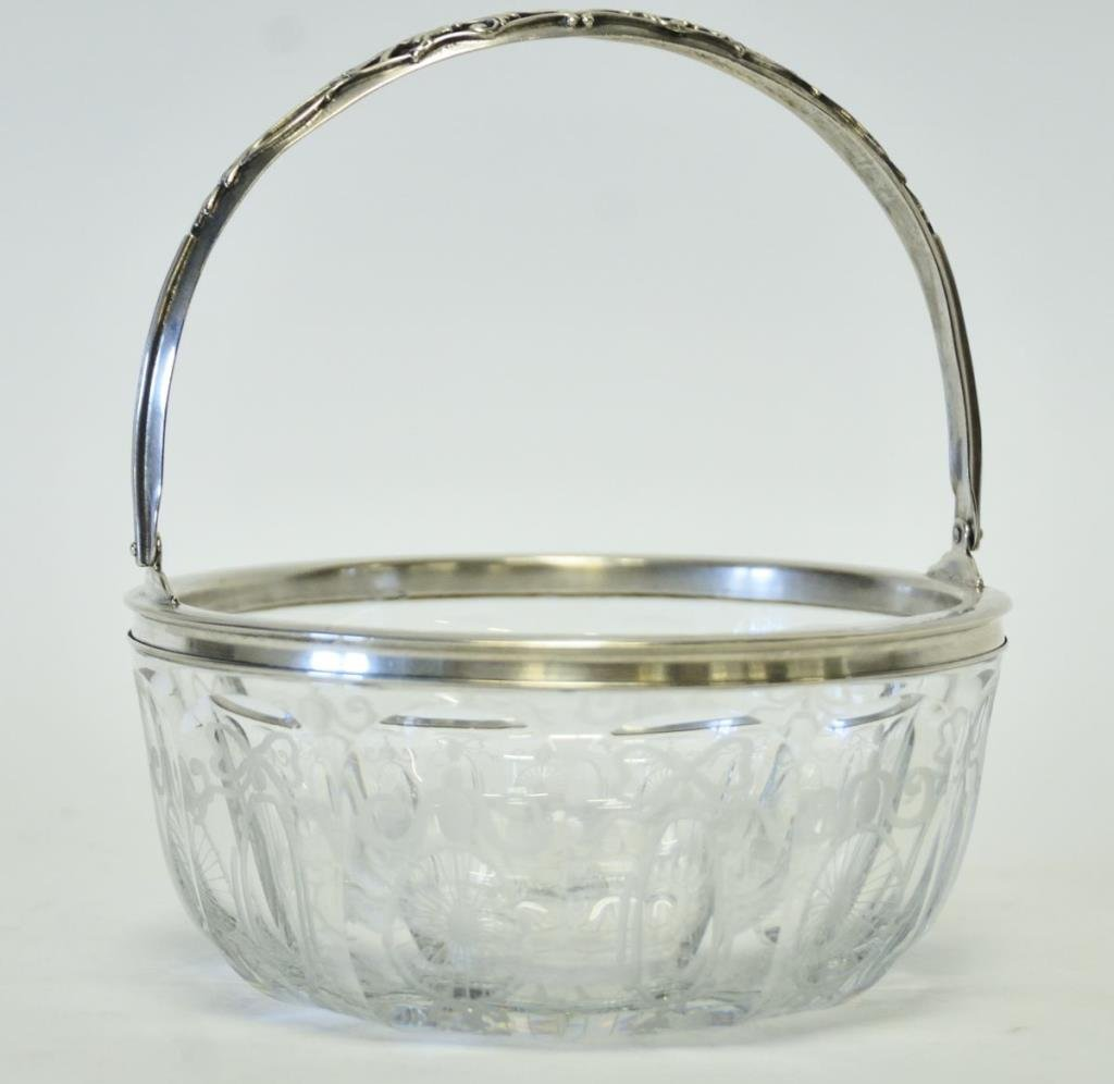 Hawkes Sterling and Glass Basket