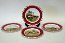 Set of 4 Spode Hunt Scene Cabinet Plates