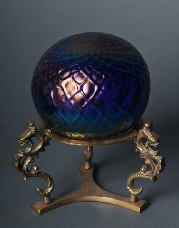Signed Art Glass Orb on Stand