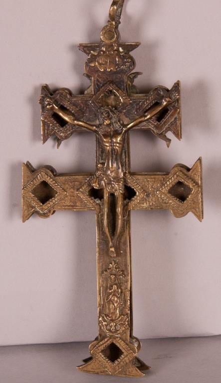 2-Part Brass Reliquary Cross