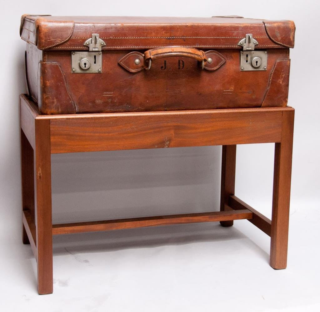 Leather Suitcase on Stand