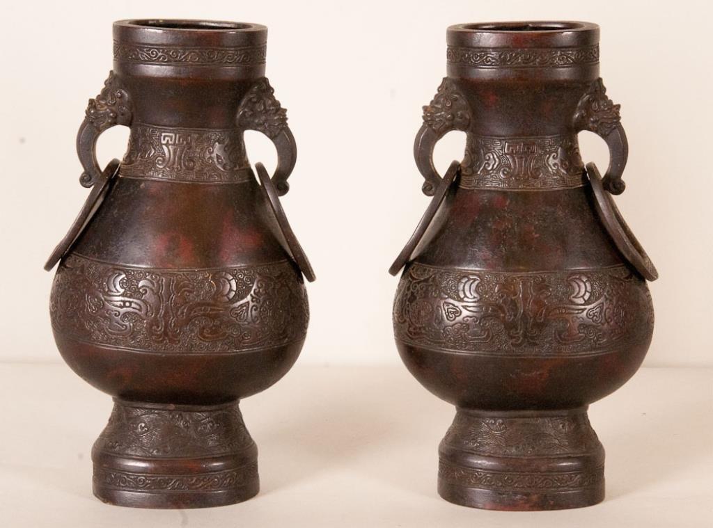 Pr. of Chinese Bronze Vases