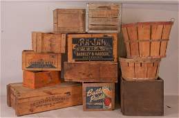 12 Wood Boxes, 2 Wood Baskets