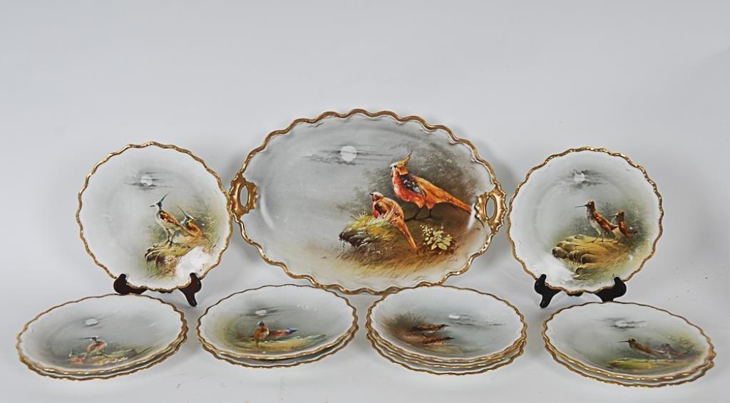 Limoges Porcelain Game Set Limoges hand painted