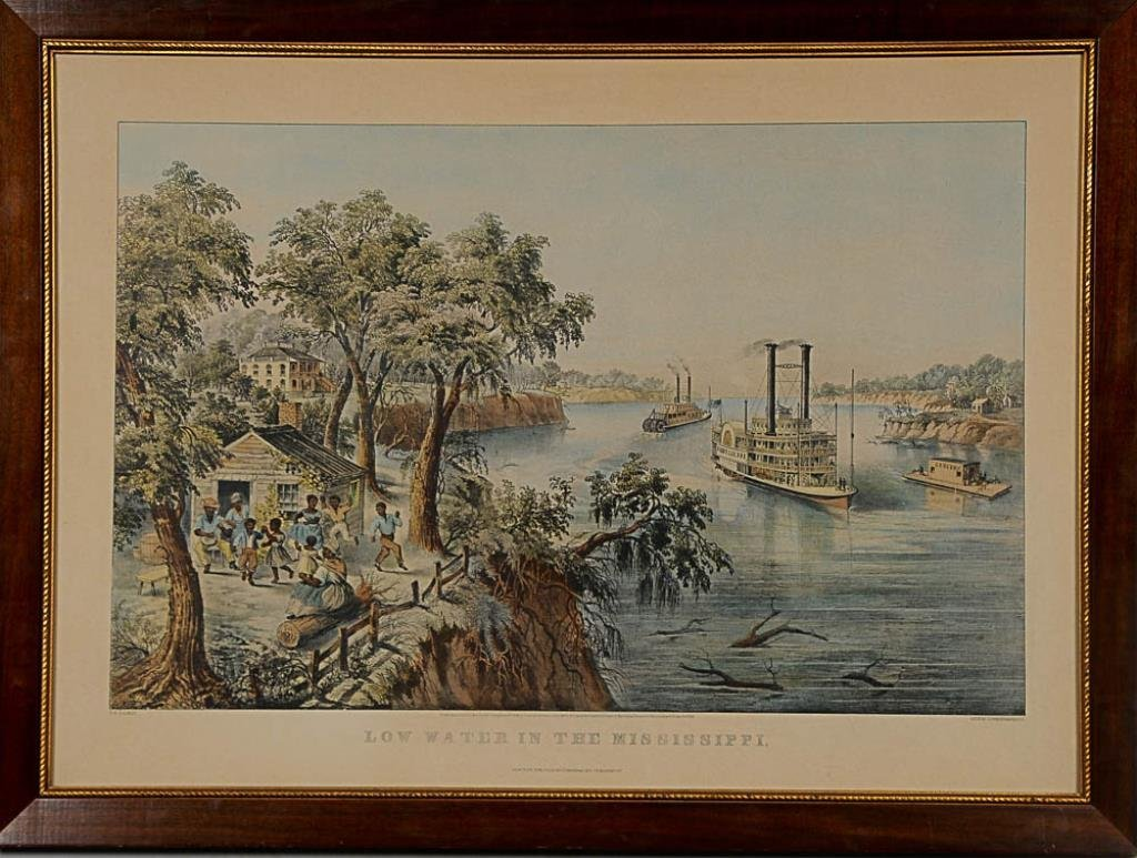 """Large Folio Currier & Ives Print """"Low Water in the"""