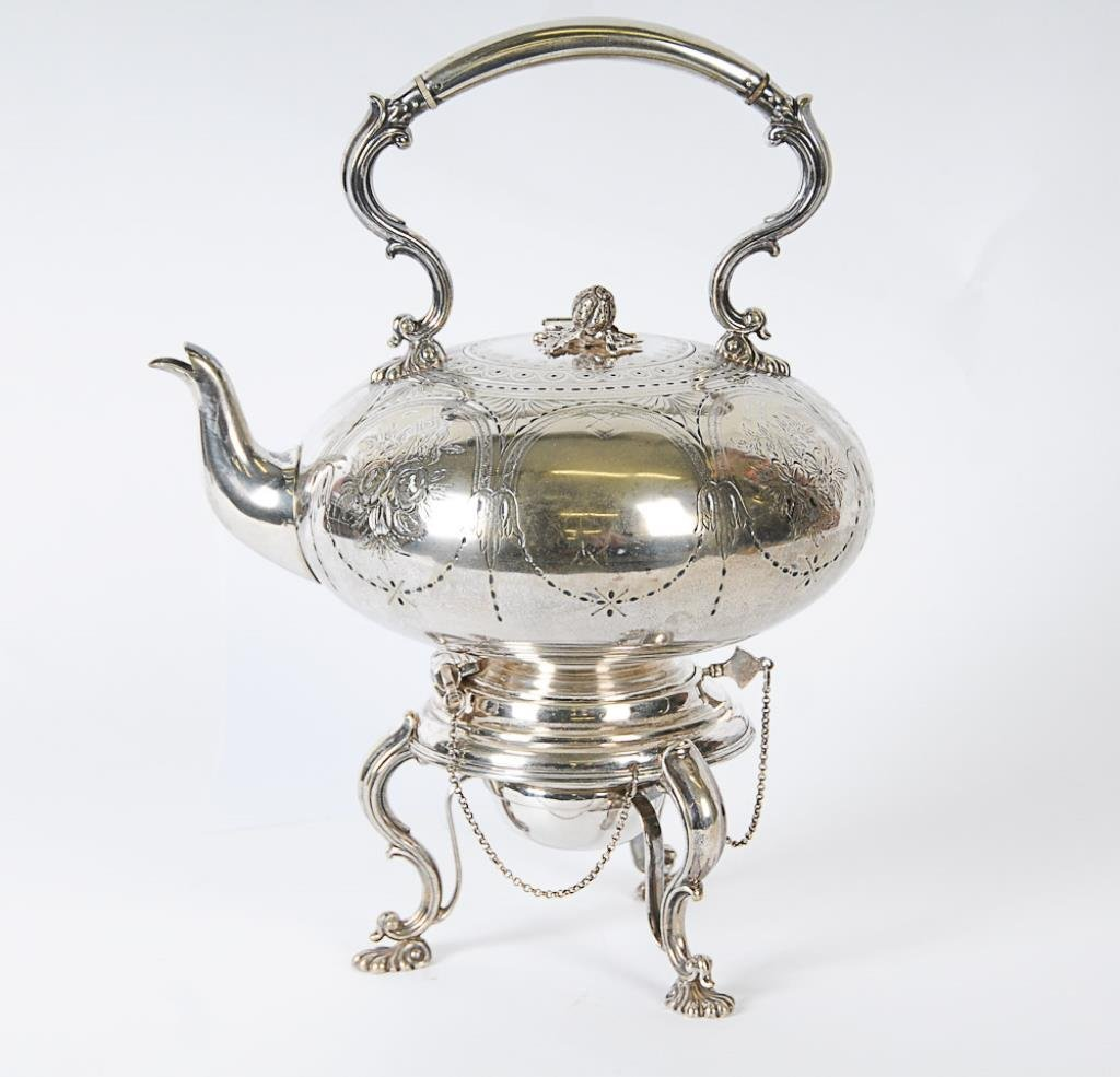 Silverplated Hot Water Kettle on Stand 19th century,