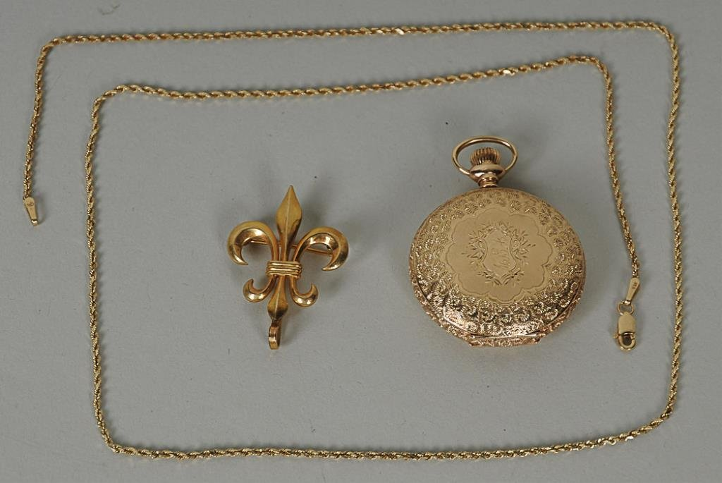 14 Kt. Pocket Watch & Chain, Brooch Late 19th century