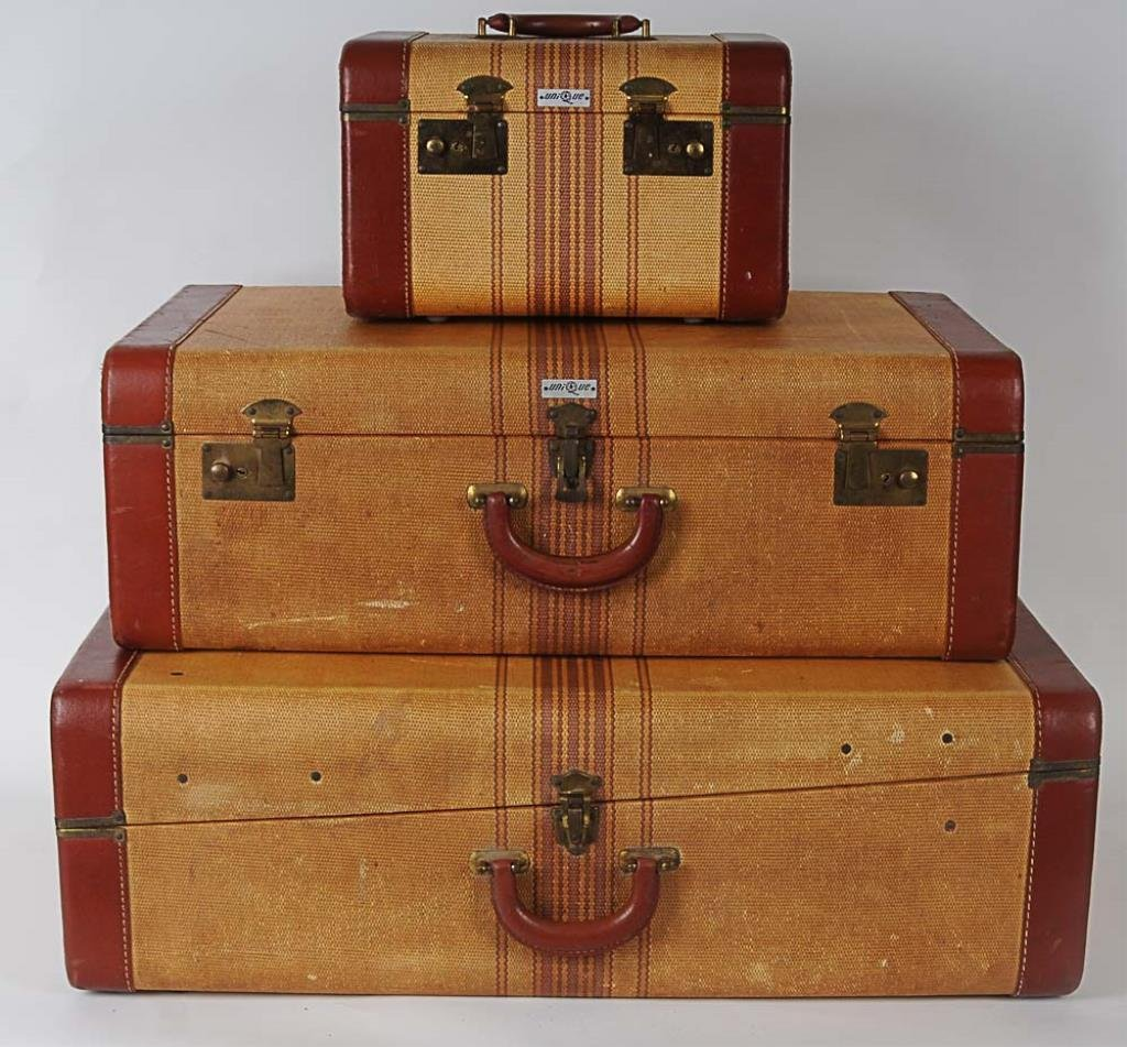 """3-Pc. Vintage """"Straw"""" Suitcase Set Constructed of faux"""