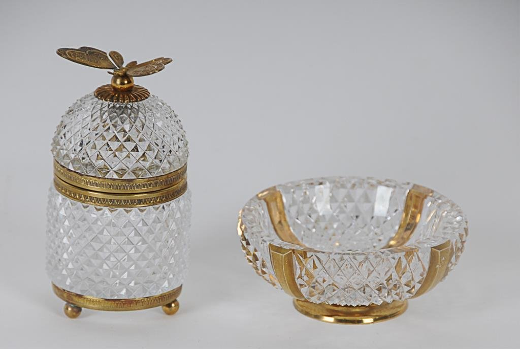 2 Pcs. French Brass Mounted Crystal Two pieces,