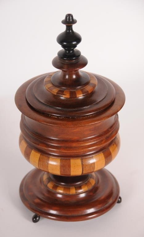Mahogany inlaid Tea Caddy Unusual continental mahogany