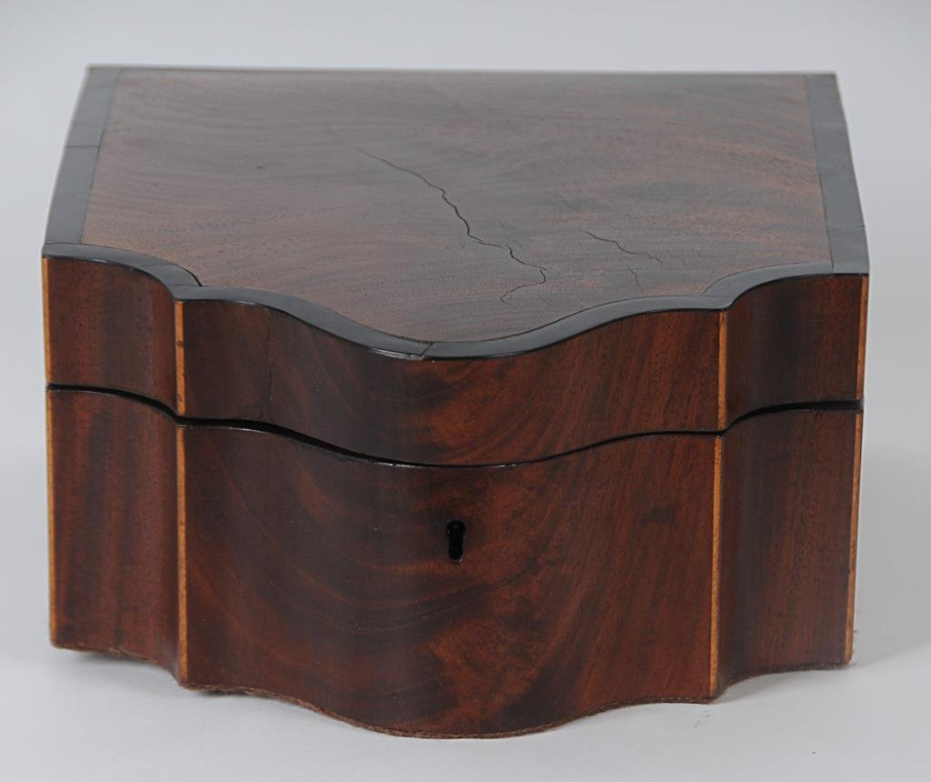 Inlaid & Banded Serpentine Rosewood Box Rosewood veneer
