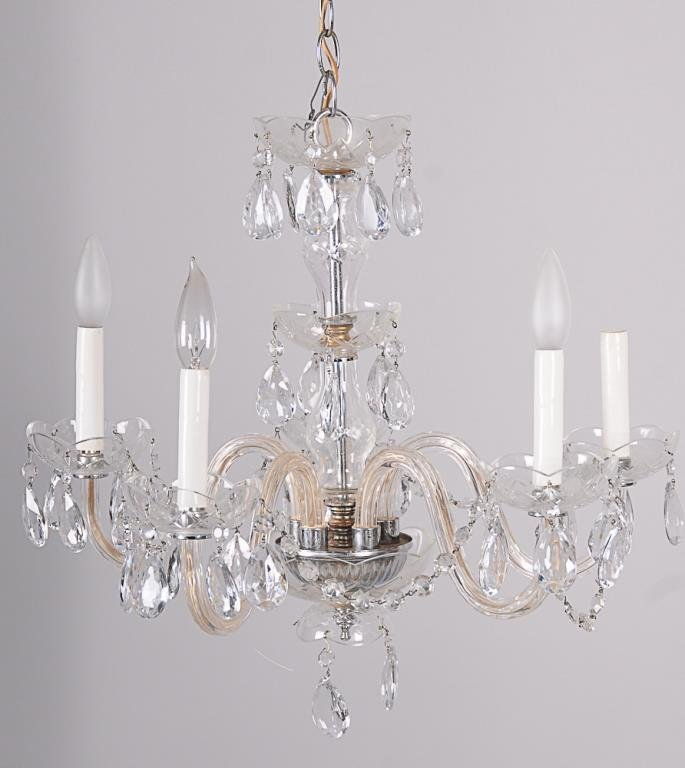 Five-Arm Crystal Chandelier Hung with prisms and swags