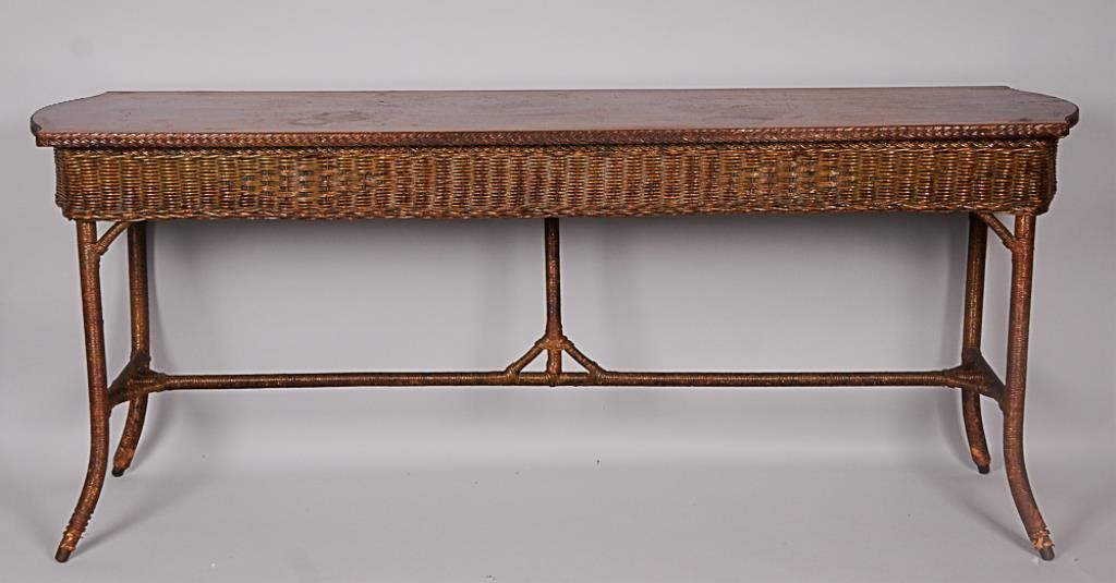Vintage Wicker Console Table Rectangular form with