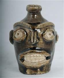 Rare Edgefield Stoneware Face Jug Likely slave made, c.