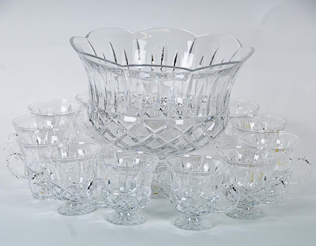 Gorham King Edward Punch Bowl & Cups Lead crystal