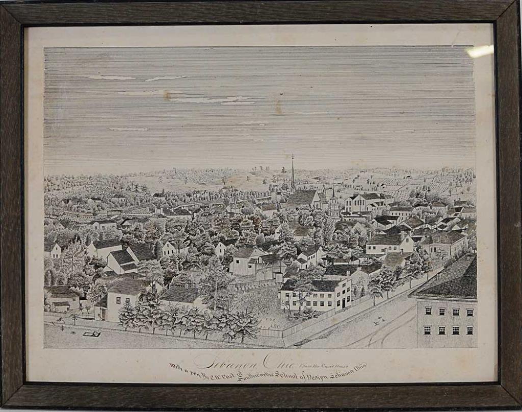 19th C. Pen & Ink Drawing of Lebanon, Ohio
