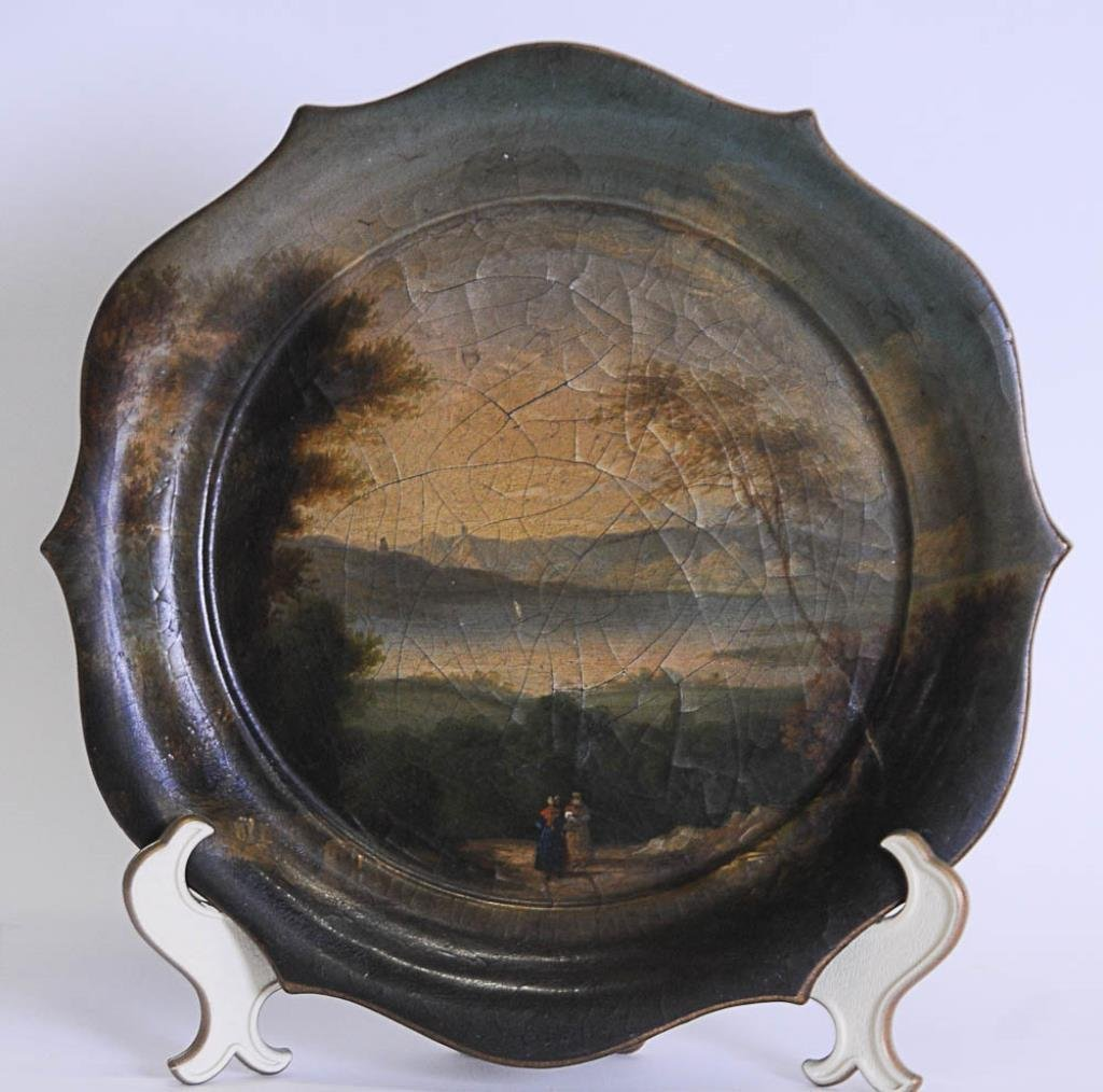 Unusual Hand Painted Papier Mache Tray