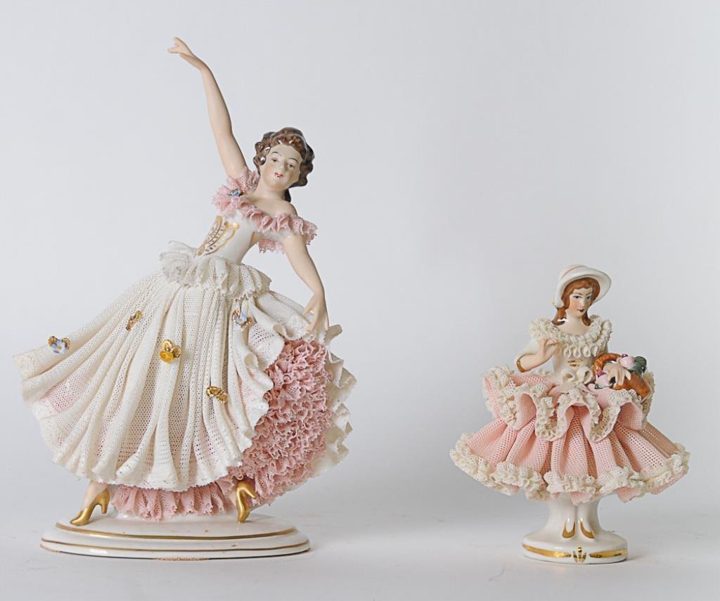 2 Dresden Porcelain Lace Figures