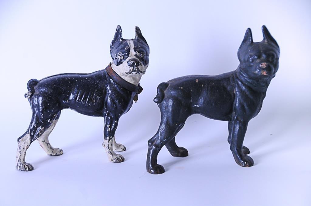 2 Cast Iron Boston Terrier Doorstops