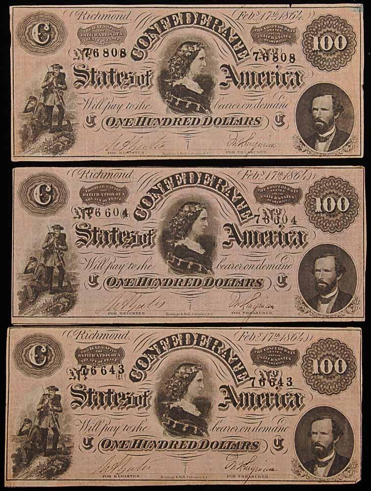 Three $100 Confederate Notes
