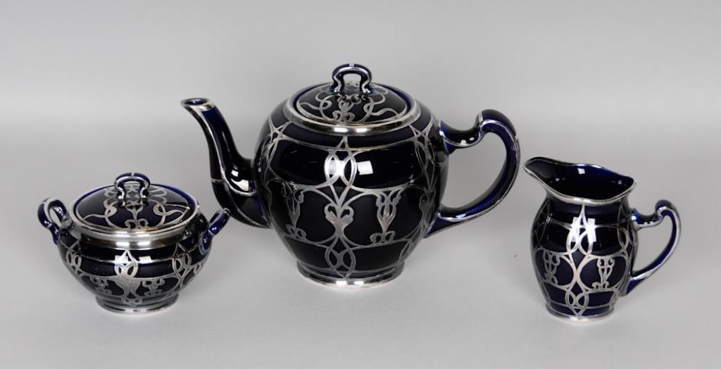 Silver Overlay Lenox Cobalt Porcelain Tea Set