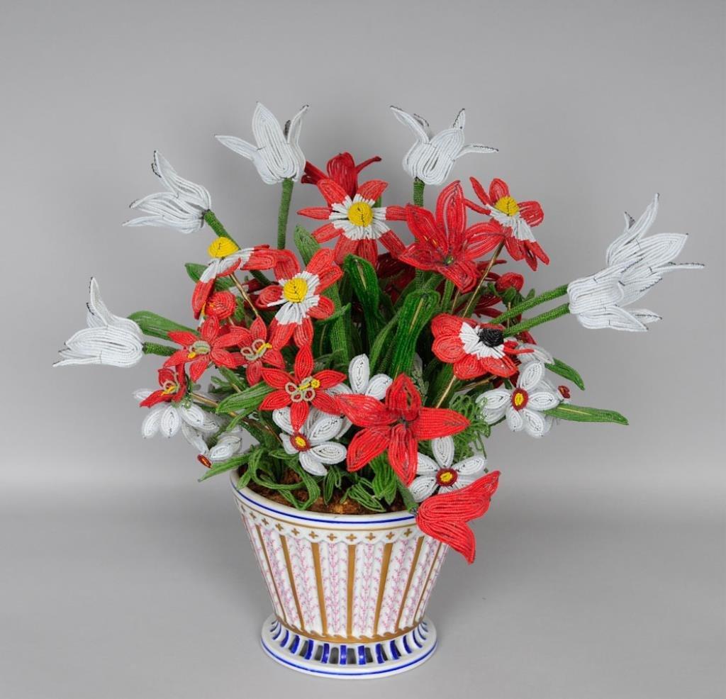 Bonwit Teller, Cachepot w/ Beaded Flowers