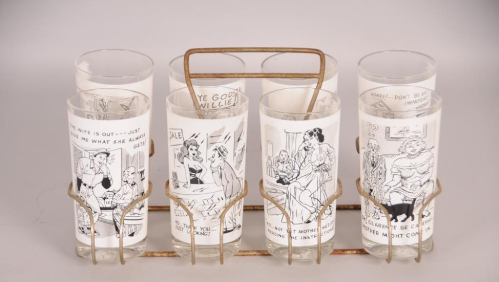 Set of 8 Mid-Century Risque Barware Tumblers