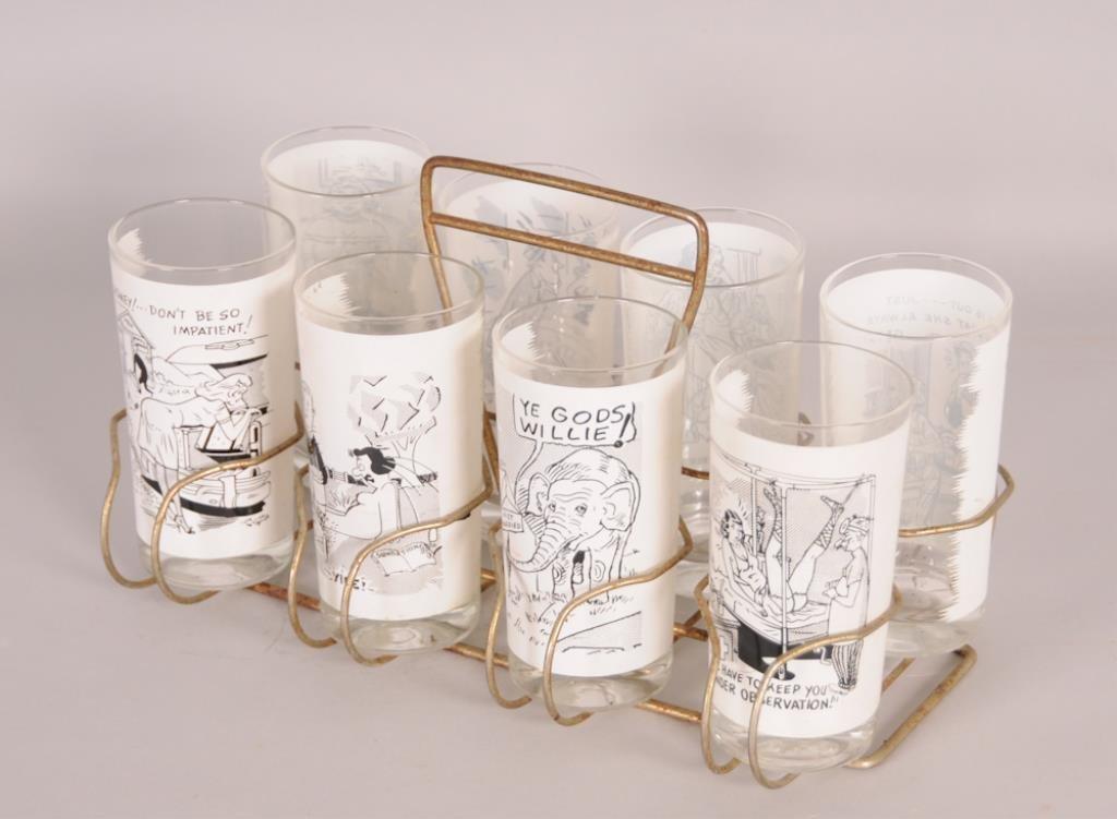 Set of 8 Mid-Century Risque Barware Tumblers - 4