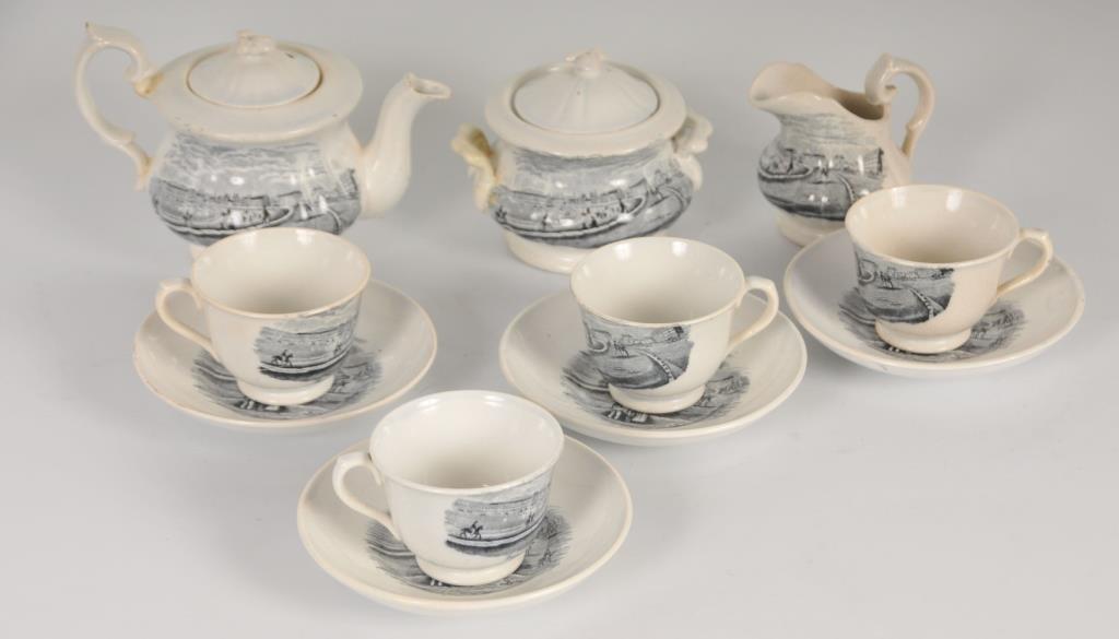 19th C. Child's English Transferware Tea Set