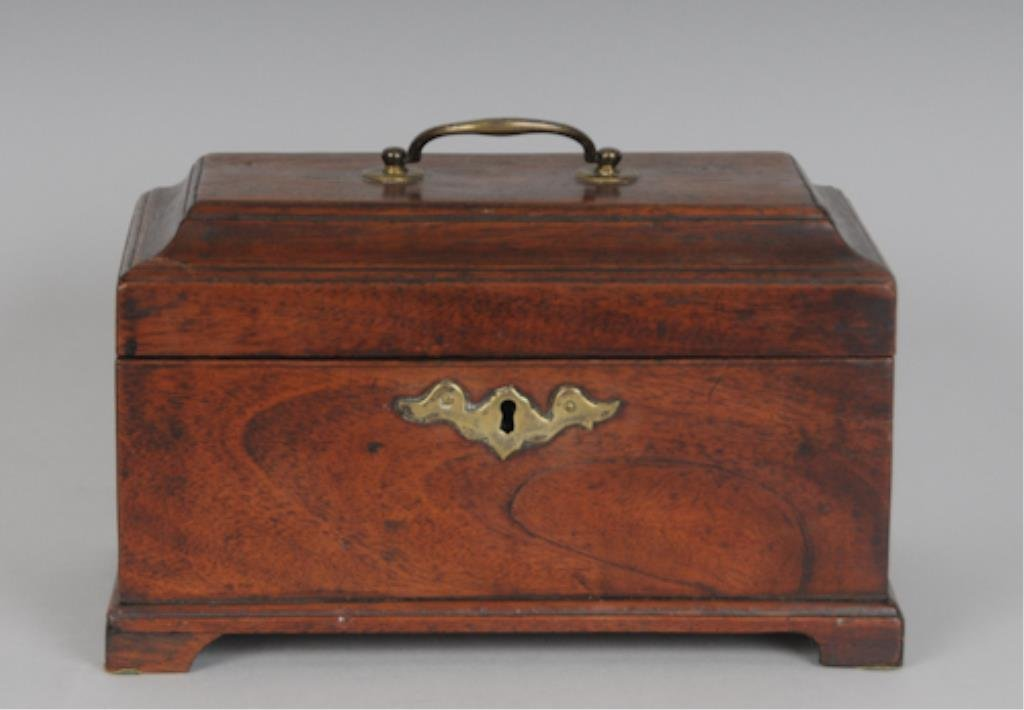 18th C. George II Mahogany Tea Caddy