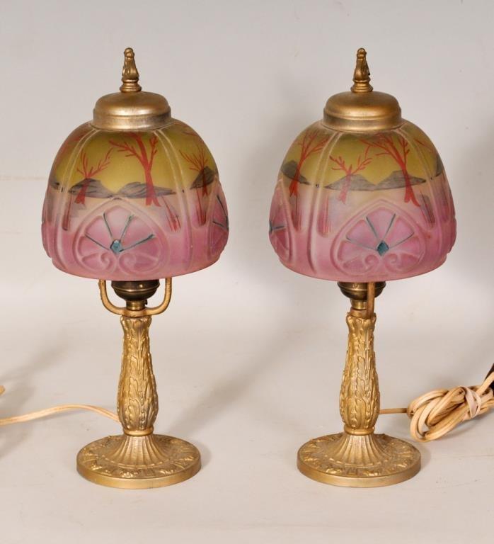 Pr. of Reverse Painted Art Nouveau Boudoir Lamps