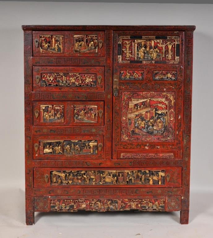 Chinese Gilt and Red Lacquered Cabinet