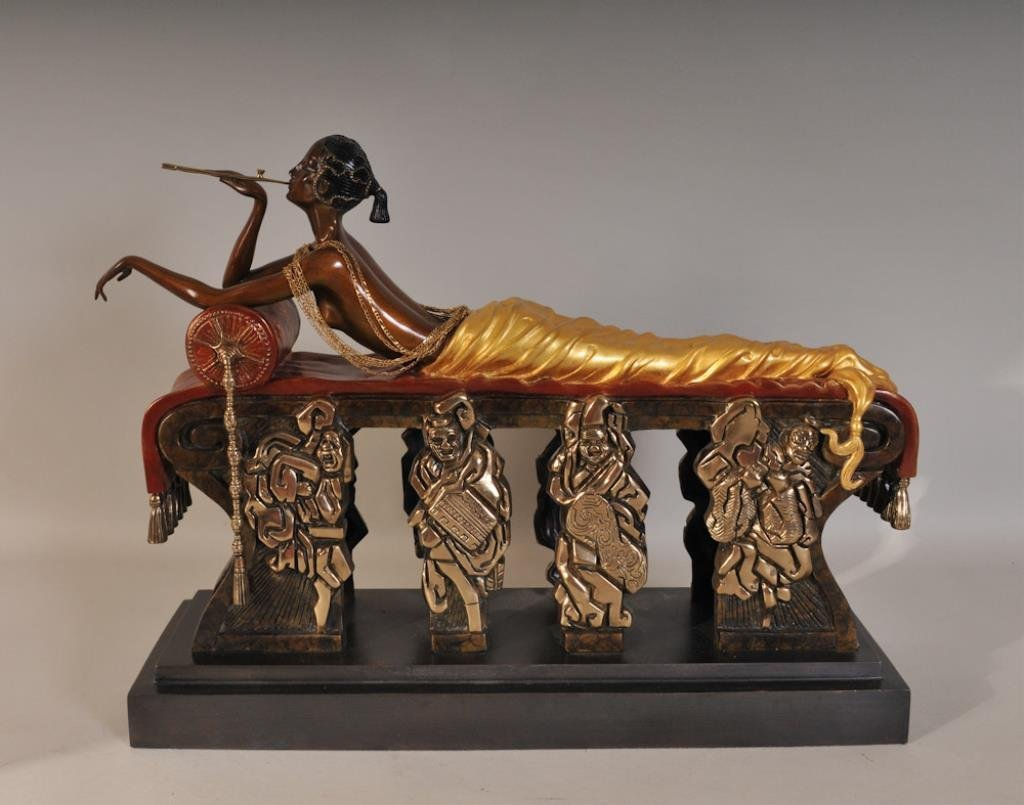 "Erte ""Daydreams"" Cold Painted Bronze Sculpture"