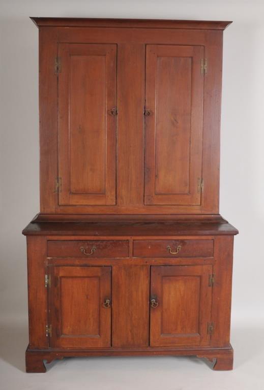 Early American Paneled Stepback Cupboard