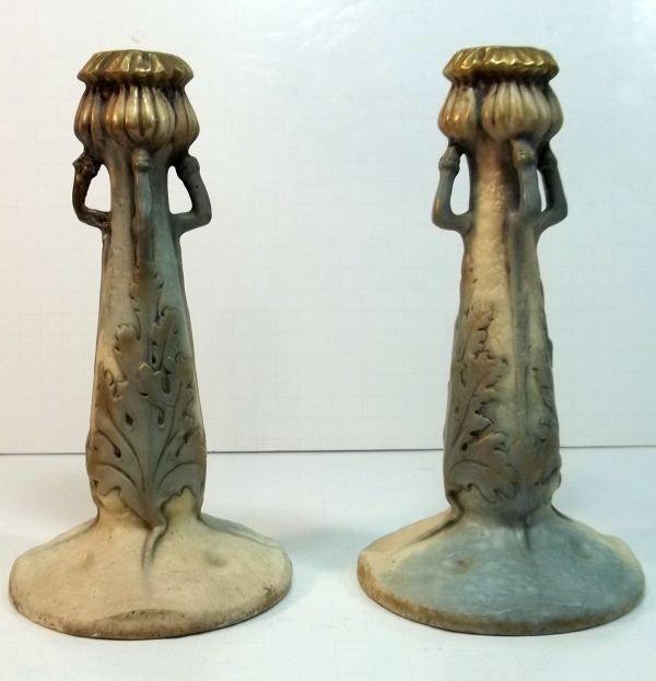 149: Art Nouveau Amphora Candlesticks c1900