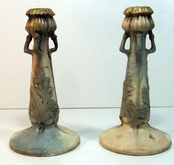 149: Art Nouveau Amphora Candlesticks c1900 - 2