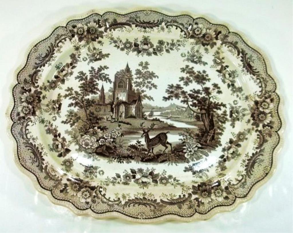 3: Brown Transferware Platter