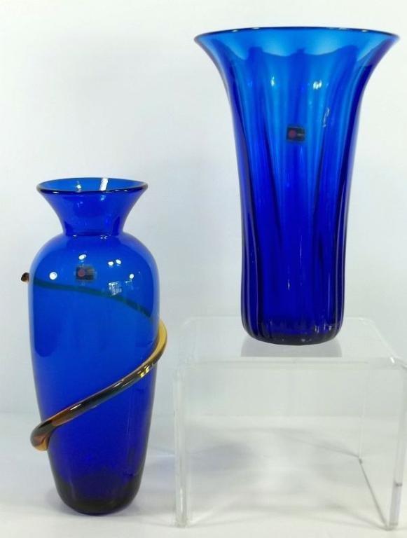 7: 2 Blenko Art Glass Vases