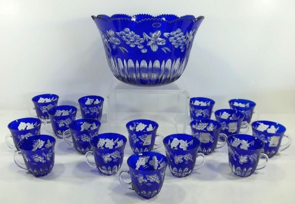 8: Blue Cut to Clear Punch Bowl and Cups