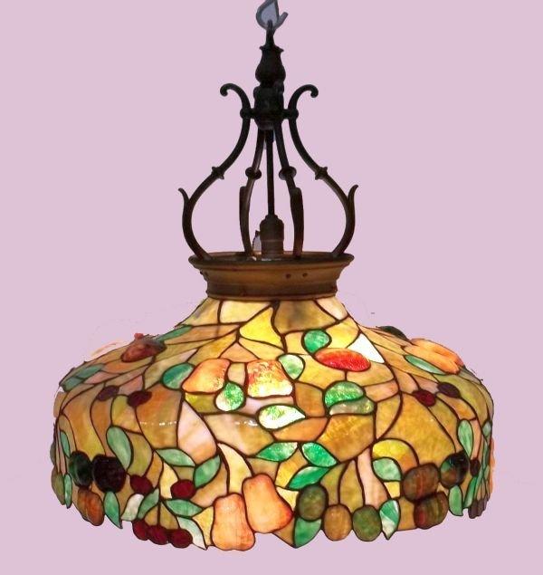 15: Leaded All Original Hanging Lamp