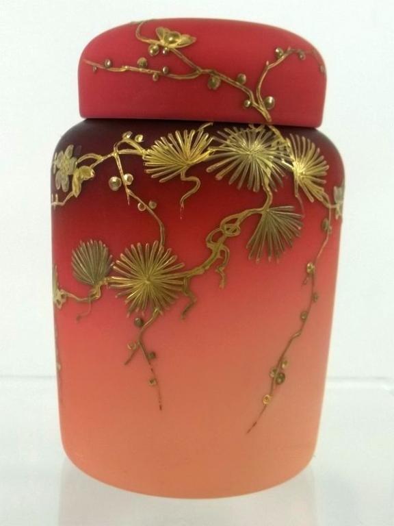 16: Mt Wahington Peach Blow Satin  Covered Rose Jar