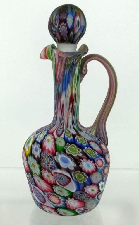 20: Vintage Glass Italian  Millefiori Cruet