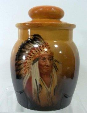 Limoges American Indian Motif Tobacco Jar