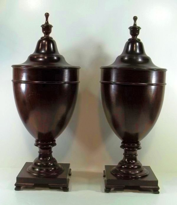 37: Pair of Large Mahogany Victorian Cutlery Urns